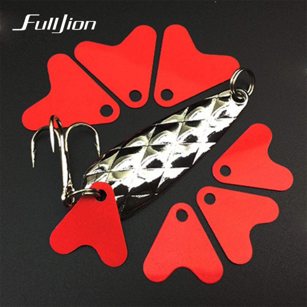 Fulljion 100pcs/lot Plastic Fishtail for Spinners  Sequin Trout Spoon Fishing Lures Red Heart Sequins Attracting Fishes Pesca