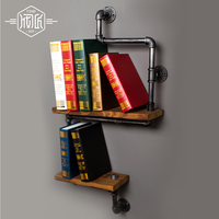 45*15cm & 35*15cm Retro Industrial Pipe Rack Shelf Wood Clapboard Shelves Creative Wall Pipe Bathroom Racks Storage Rack Z2