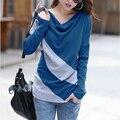 Poleras de Mujer Outono camiseta femme Casuais 2015 Das Mulheres T-shirt de Manga comprida Listra Das Senhoras Camisa Roupas Plus Size 3XL Vetement
