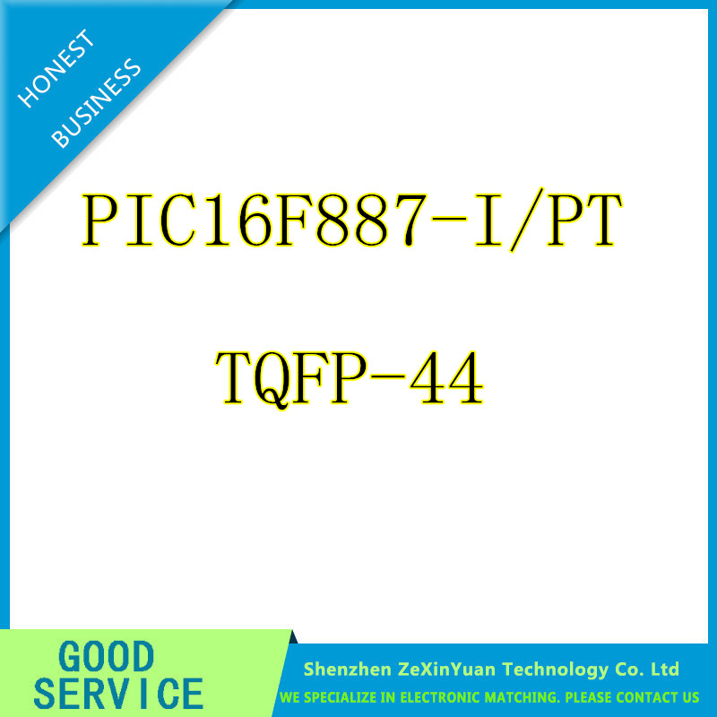 10PCS/LOT PIC16F887-I/PT PIC16F887 MCU 8BIT 14KB FLASH QFP-44 IC.