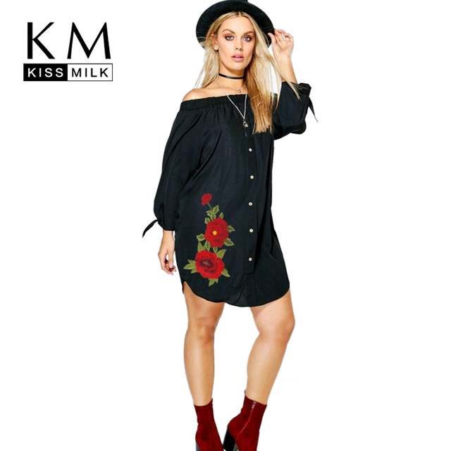 Kissmilk 2017 Большой Размер Женщин Одежда Сексуальная Твердые Вышивка Летом dress slash шеи flare рукавом сплит плюс размер dress 4xl 5XL