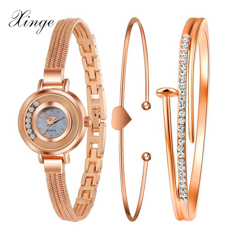 Xinge Luxury Popular Brand Watches Women Gold Crystal Heart Bracelet Wristwatch Set Fashion Female Ladies Quartz Wrist Watch xinge fashion brand popular watch women believe in yourself bracelet crystal wristwatch set girls gift clock women 2018 watches