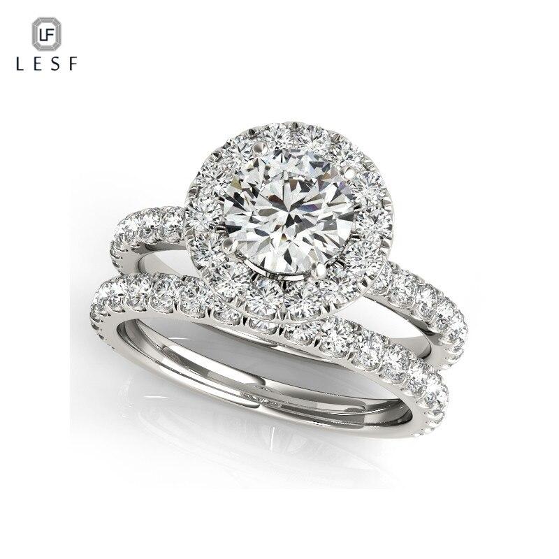 LESF 1 Carat Luxury SONA Synthetic Ring Vintage Bridal Engagement Lover Finger Ring Women Elegant Wedding Gift