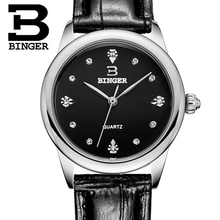 Genuine Swiss BINGER Women leather strap sapphire quartz watch female fashion waterproof rhinestones free shipping