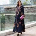 2016 Новый Осень Зима Новый Женщины Платье Мусульманских Женщин Длинное Платье Vestidos Повседневная Печати Цветочные Длинным Рукавом V-образным Вырезом Партия Одежды
