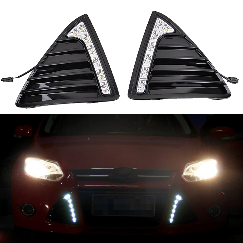 12V LED Car DRL Daytime Running Lights Fog Lamp With Turn Off And Dimming Relay for Ford Focus 3 2012 2013 2014 Turn Signal 12v 3 pins adjustable frequency led flasher relay motorcycle turn signal indicator motorbike fix blinker indicator p34