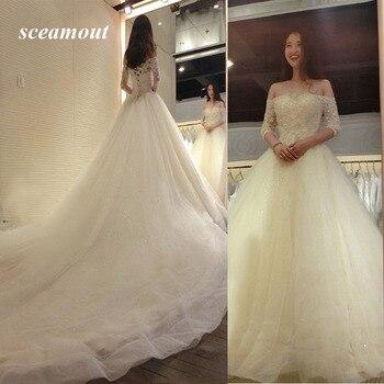 2019 Boat Neck Wedding Dresses Half Sleeve Vintage Vestido De Noiva Bridal Gowns Long Bride Dresses vestido de noite