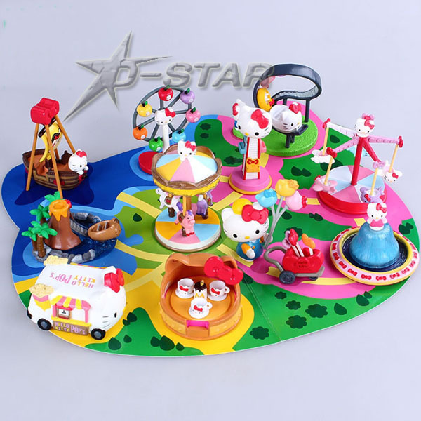Free Shipping Cute 11pcs Hello Kitty Solid Amusement Park Playground PVC Action Figure Model Collection Toy Gift (11pcs per set) лото лотошки для крошки 1280