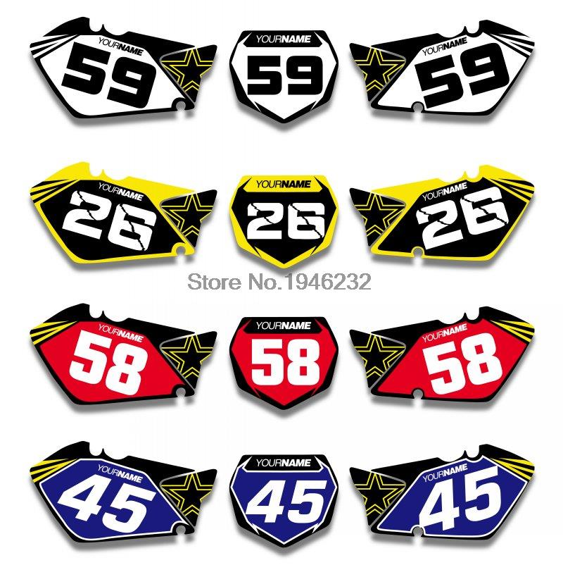 Us 29 99 25 Off For Suzuki Rm125 Rm250 2001 2012 Custom Number Plate Backgrounds Graphics Sticker Decals Kit In Decals Stickers From Automobiles
