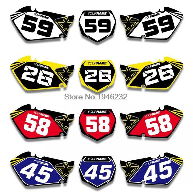 For suzuki rm125 rm250 2001 2012 custom number plate backgrounds graphics sticker decals kit