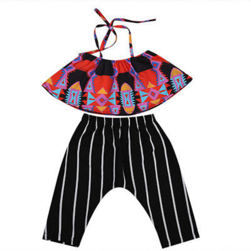 0-5Y Toddler Baby Girls Halter Print Ruffles Off Shoulder Blouse Tops + Striped Pants Trousers 2PCS Set Outfits Kids Clothes 2017 summer toddler kids girls striped baby romper off shoulder flare sleeve cotton clothes jumpsuit outfits sunsuit 0 4t