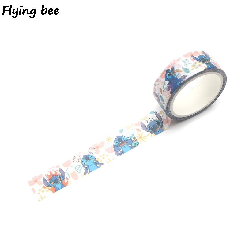 Flyingbee 15mmX5m Stitch Washi Tape Paper DIY Decorative Adhesive Tape Stationery Cartoon Masking Tapes Supplies X0298 in Office Adhesive Tape from Office School Supplies
