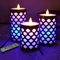 3 pcs/set Dancing flame grid pillar wax Candle with RGB multilpe color changing,led candle lamp for birthday party decorative