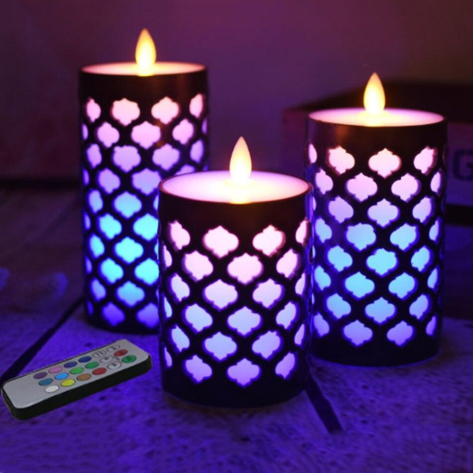 Bougie de cire de pilier de flamme de danse de 3 pièces/ensemble avec le changement de couleur de rvb multilpe, lampe de bougie de led pour la décoration d'anniversaire, veilleuse