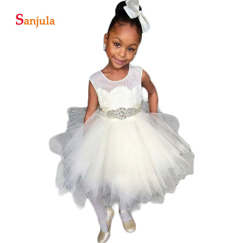 Asymmetrical Puffy Tulle   Dresses   A-Line Tank African   Flower     Girls     Dresses   Beaded Waist Appiques Pageant Party   Dresses   D88