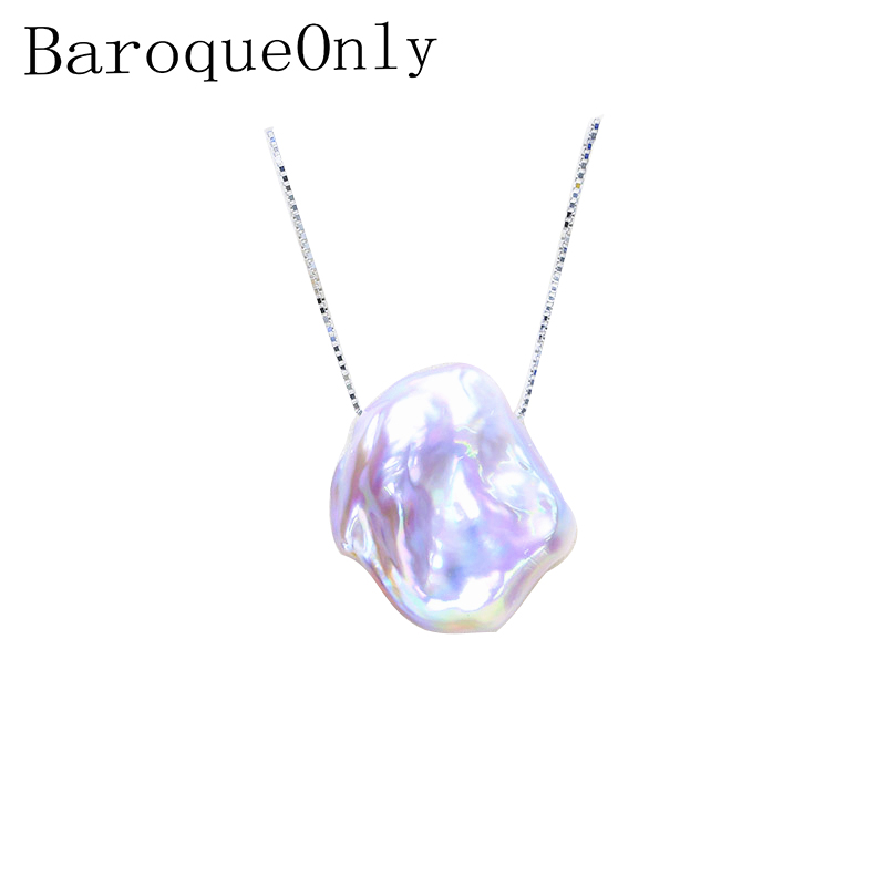 BaroqueOnly Light Purple Irregular Baroque Flat Pearl High Luster 15-20mm 925 Silver Sterling Box Chain Pendant Necklace
