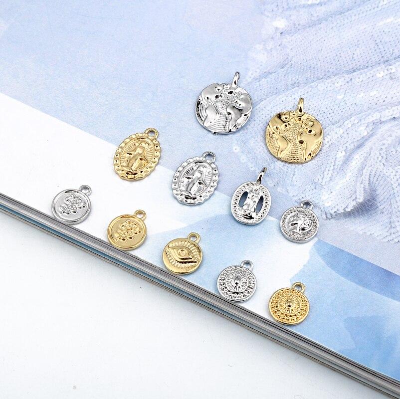 5 pçs religioso maria moeda retrato liga encantos metal achados pequenos brincos pulseira colar pingente jóias fazer c134