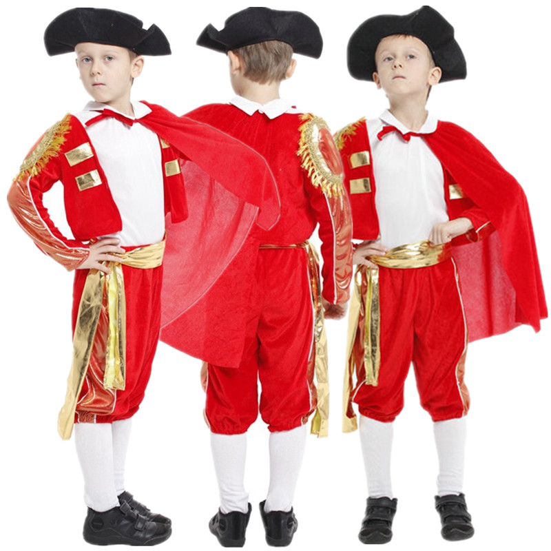 Free Shipping Kids Boys Spanish Matador Costume Halloween Masquerade Party Fancy Dress Red Bullfighter Children Cosplay Clothes