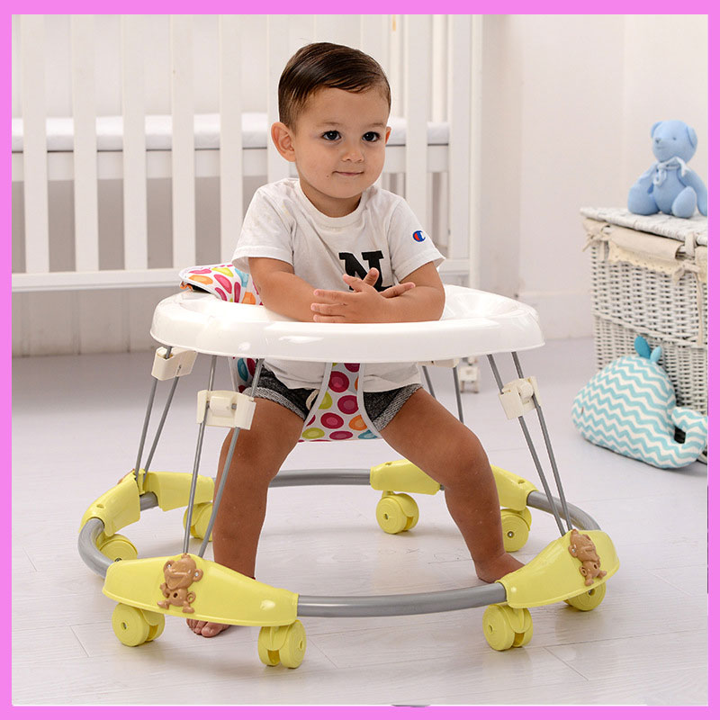 Baby Walker with 8 Mute Rotating Wheels Anti Rollover Multi-functional Child Walker Seat Walking Aid Assistant First Step Car