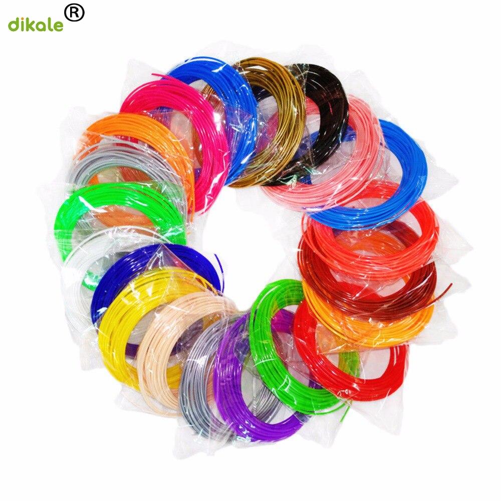 dikale 72m 3D Printing Material 24 Colors PLA 3D Pen Filaments 1.75mm 3D Impresora Drawing Printer Pen Pencil Plastic Refill