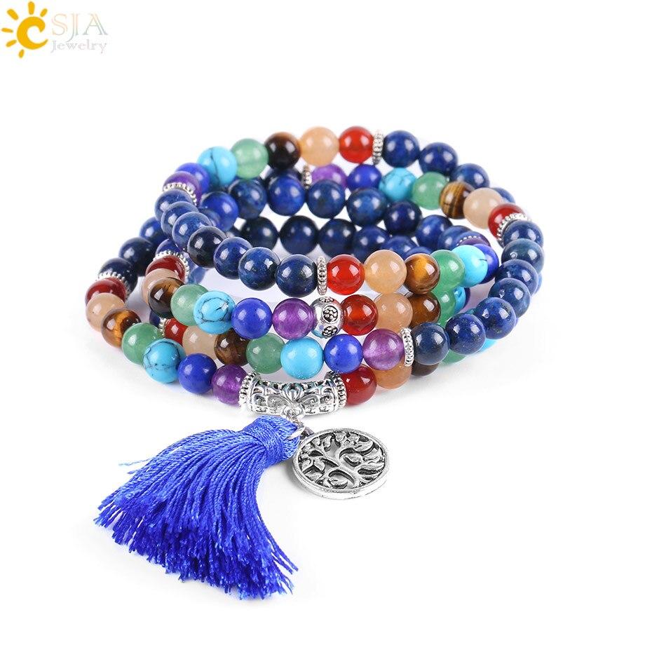 CSJA 7 Chakra Multilayer Charms Armbänder Schmuck Lapis Lazuli 108 Mala Gebet Perlen Reiki Healing Yoga Meditation Power E660