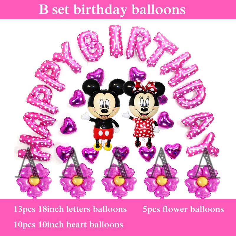 30pcs stand Mickey Minnie Foil Balloons birthday set inflatable helium balloon h