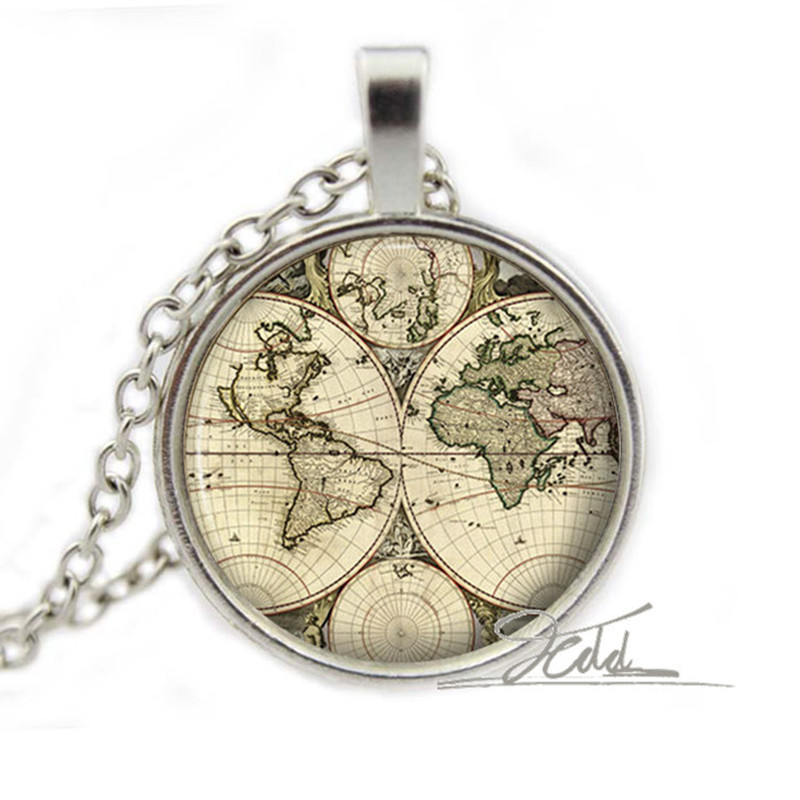 World map necklace pendant old antique atlas picture jewellery world map necklace pendant old antique atlas picture jewellery accessory gift photo glass dome cabochon necklace pendant in pendant necklaces from jewelry gumiabroncs Choice Image
