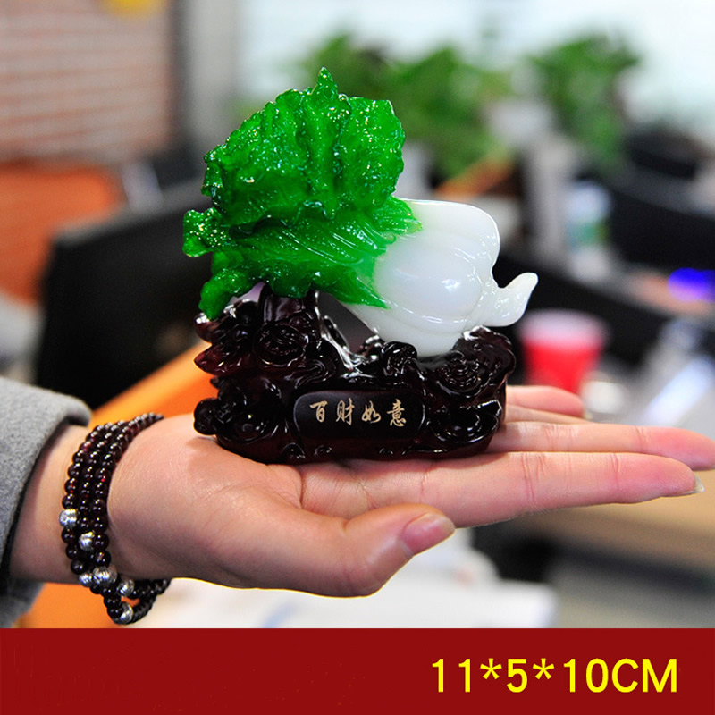 High-Quality Traditional Jade Shape Chinese Cabbage Resin Decoration Desk Ornaments Gift Home Office Shop Car Decoration