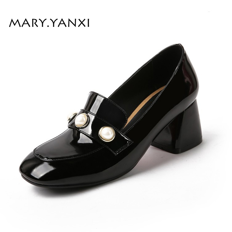 Women Pumps Big Size Lazy Shoes Patent Leather Pearl High Square Heels Slip-On Round Toe Casual Fashion Shallow big size high heels round toe women platform shoes cool casual white lace wedge black creepers medium pumps mesh chinese fashion
