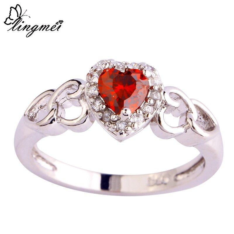 Женское кольцо с красным и белым фианитом, размеры 6, 7, 8, 9, 10, 11, 12, 13