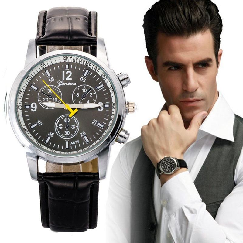 zegarki meskie جديد جنيف رجال الأعمال ووتش - ساعات رجالية