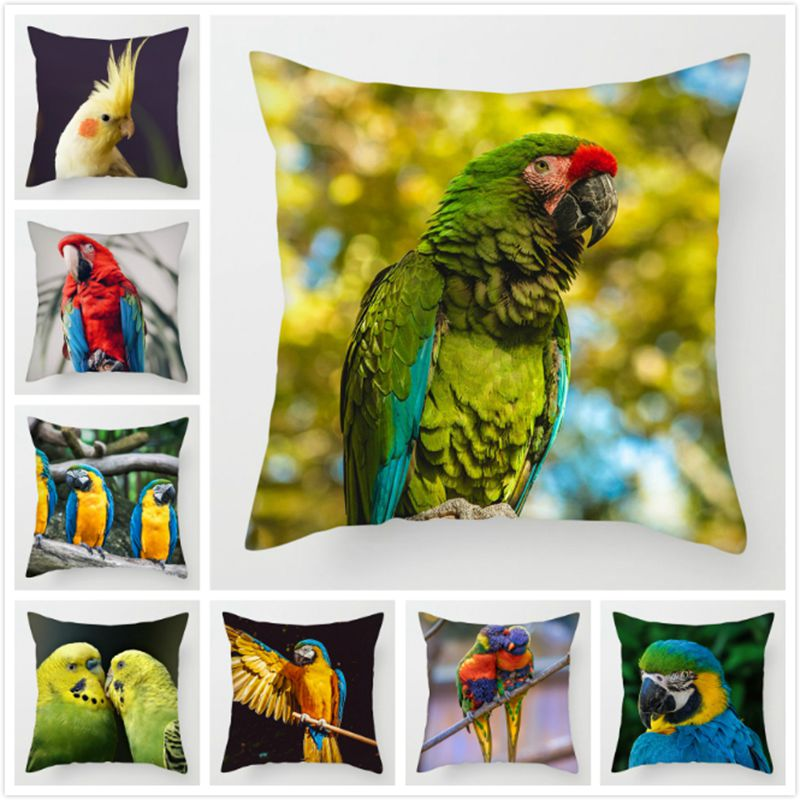 Fuwatacchi  Wild Animals Cushion Covers Cute Parrots Pillow Covers For Home Chair Sofa Decor Colorful Birds Parrots Pillowcases