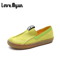 2017 Brand New Fashion Spring Women Big Head Shoes Slip On Loafers Round Toe Casual Shoes