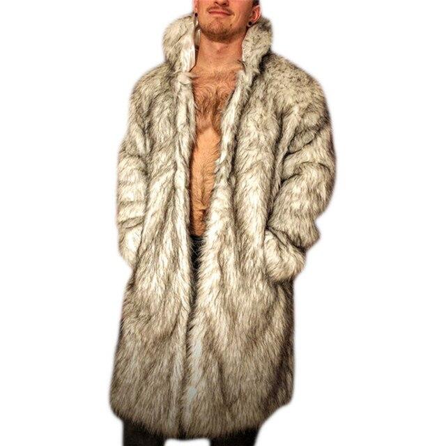 New 2016 Plus Size 3XL Men Black Long Design Faux Fur Coats Fashion Autumn Winter Men Turn-down Collar Warm Faux Fur Jeckets