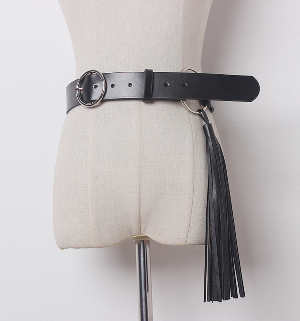 Newest designer metal belts women high quality cow genuine leather belt vintage pin buckle ceinture tassel belts freeshipping