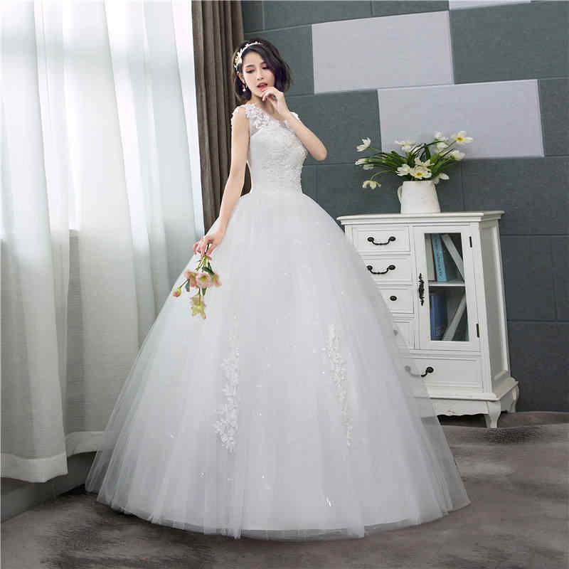8697281d8c9a3 ... It's YiiYa Wedding Dress Off White Sleeveless Wedding Gowns Simple  O-neck Back Lace Up ...