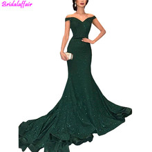 2019 Elegant Arabic Dark Green Sequined Mermaid Evening Dresses Off The Shoulder Ruched Floor Length Prom Gowns
