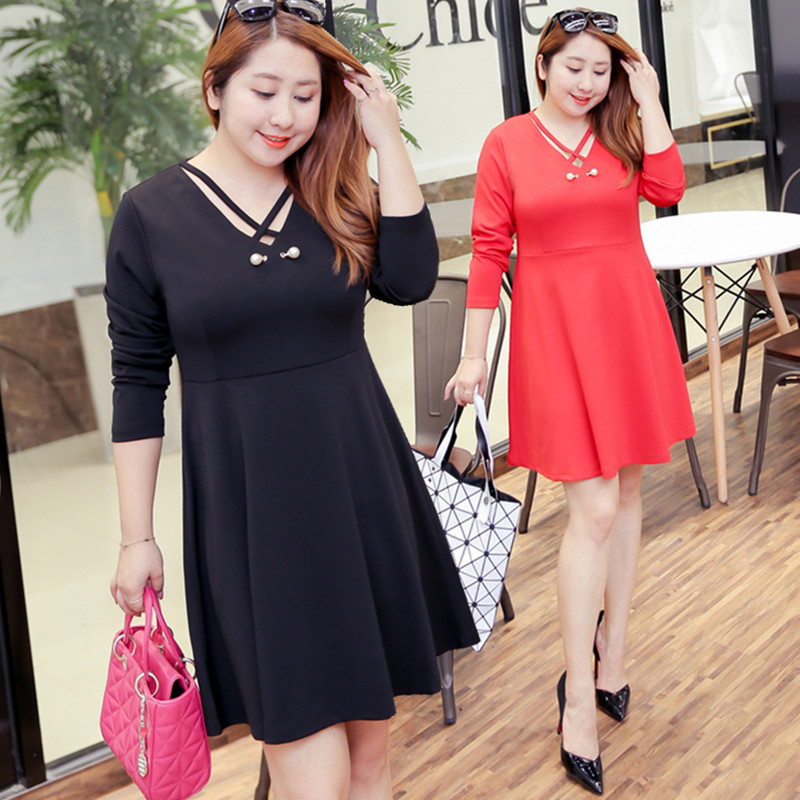 MINSUNDA New Plus Size Dresses XL 4XL Size Women Elegant Dresses V Neck Criss Cross Long Sleeve Flare Flippy Short Dress