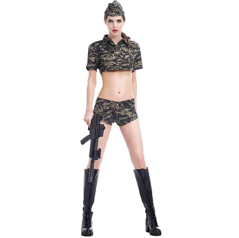 36361c1fd7c ... New Brand Women Soldier Costumes Sexy Camouflage Army Costumes  Halloween Carnaval Cosplay Army Green Military Masquerade ...
