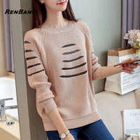 RENBANG Striped Sweater Women Jumper 2018 Spring New Fashion Woman O Neck Pullover Long Sleeve Knitted