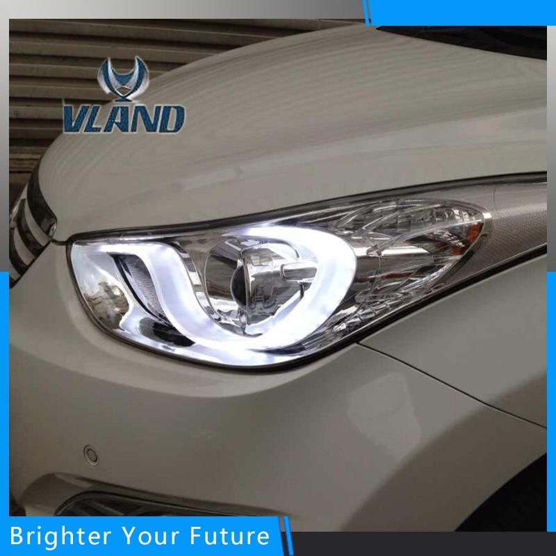 Vland Car Styling for Hyundai Elantra 2012-2016 Headlights New Elantra LED Headlight DRL Modify Custom car accessories luxury sports door wrist bowl stick handle decorative exterior smooth paste for hyundai elantra 2012 2016
