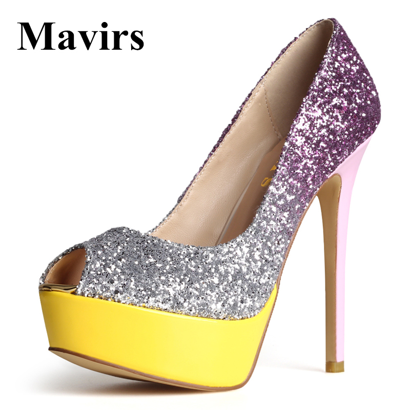 цена на MAVIRS 2017 Fashion Peep Toe Glitter Platform High Heels Women Pumps Female Footwear Wedding Bride Party Stiletto Shoes