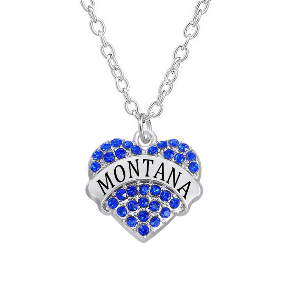 10 Pcs/lot Factory Direct Selling Crystal Montana State Pave Charm Jewelry Necklace For Women