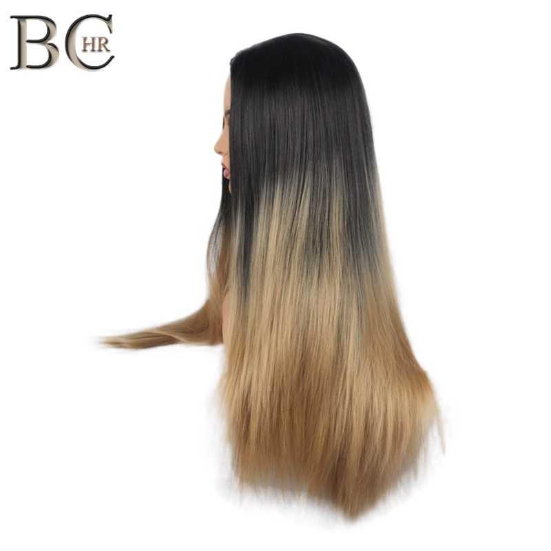 BCHR Uzun 2 Ton Ombre Kahverengi Kül Sarışın Sentetik Peruk Kadınlar için Orta Kısmı Kısa Düz Saç Yüksek Sıcaklık Cosplay saç