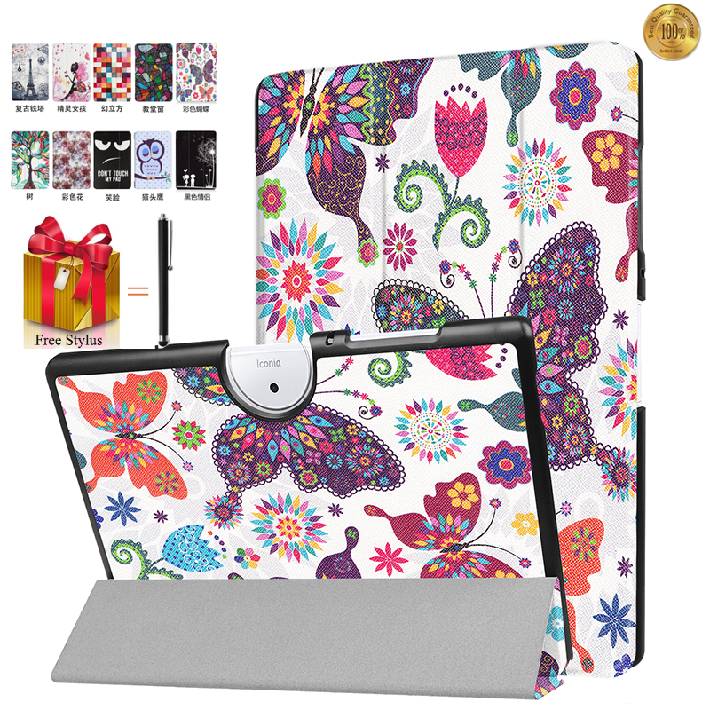 Case For ACER Iconia One 10(B3-A40) Tablet Cover For Acer B3-A40 10 inch Tablet Cover Print Flip Leather Stand Slim Fundas+Pen top quality magnetic stand flip pu leather cover for acer iconia one 8 b1 850 b1 850 8 tablet funda case free screen film pen