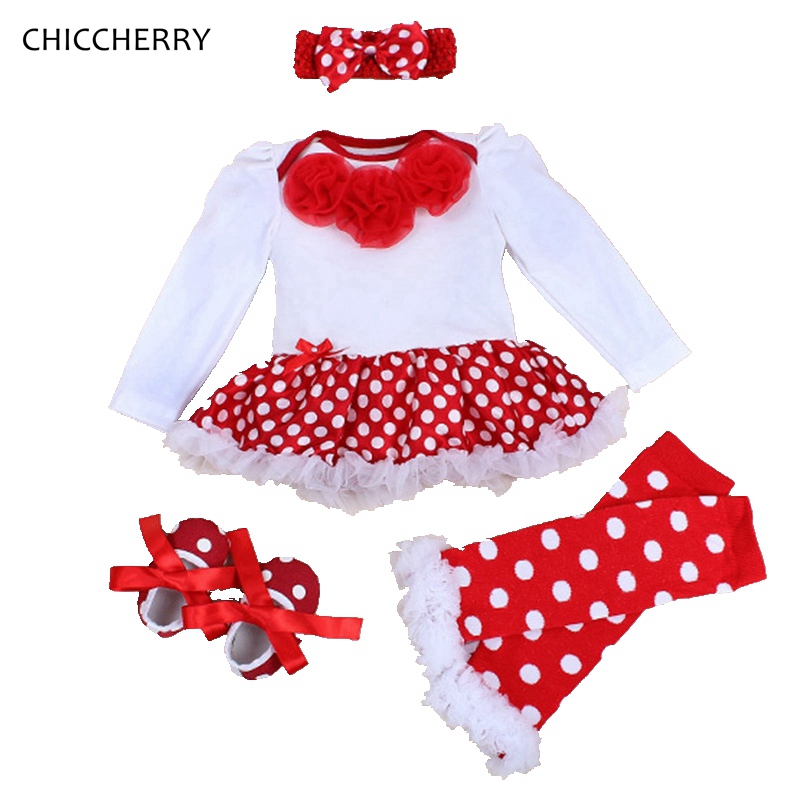 Rose Romper Polka Dots Dress Baby Girl Lace Tutu Set Headband & Legwarmers Solid Vestido Bebe Fille Wedding Party Clothes