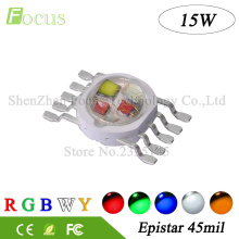 10 Pcs High Power LED Chip 15W RGBWY 45mil Red Green Blue White Yellow COB Supper Bright 10 pin Light Beads For Stage Lights