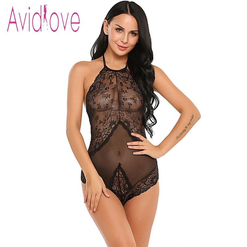 Buy Avidlove Adult Sex Clothes Babydoll Lingerie Sexy Hot Erotic Teddies Bodysuit Women Sex Underwear Halter Lace-up Teddy Nightwear