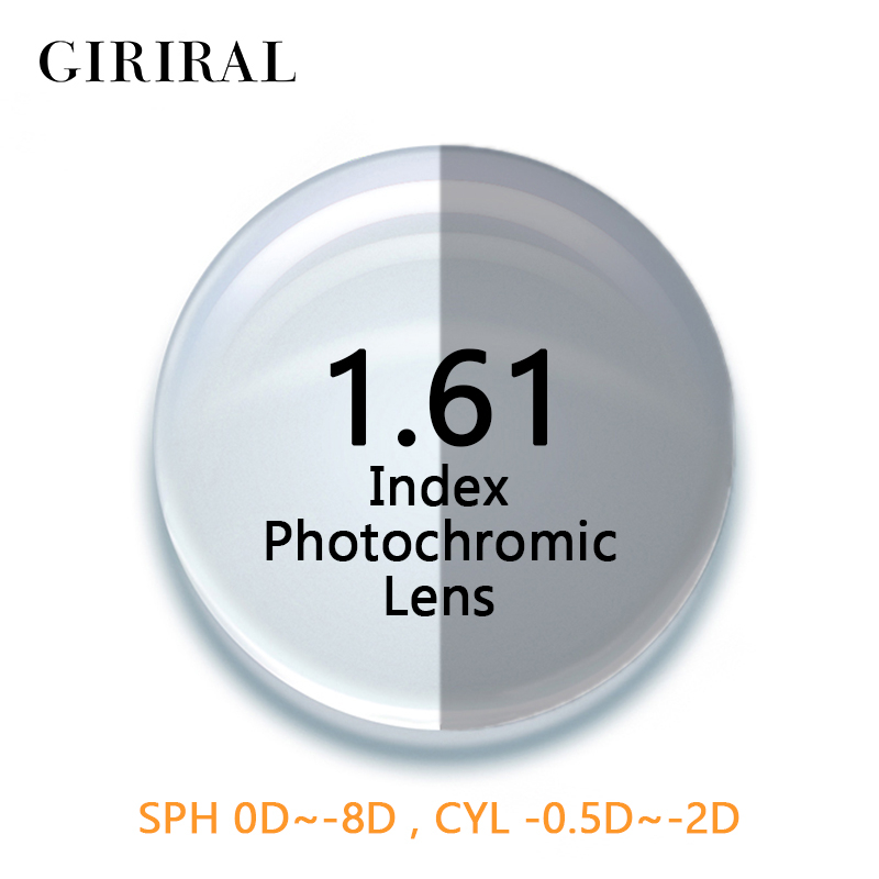 1 61 Index CR 39 Photochromic lenses eye colored sunglasses prescription optical goggles reading myopia glasses