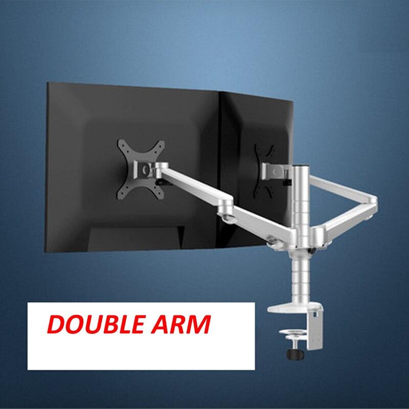 aluminum OA 4S 10 27 Double arm dual screen desktop mount monitor table stand pad desk mount stand monitor bracket shelf